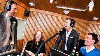 Erik Blix, Rachel Mohlin, Göran Gabrielsson och Mattias Konnebäck. Foto: Mattias Ahlm/Sveriges Radio.