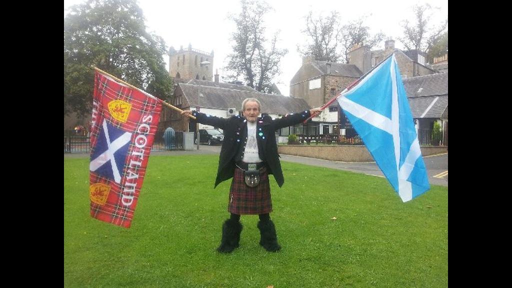 Representant för Nej-sidan i Skottska folkomröstningen Foto:Olle Hägg/SR