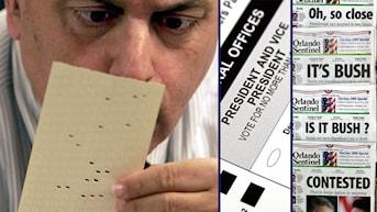 En man granskar ett hålkort. Valsedel från presidentval i USA. Tidningsrubriker efter valet 2000. Foto: Scanpix.