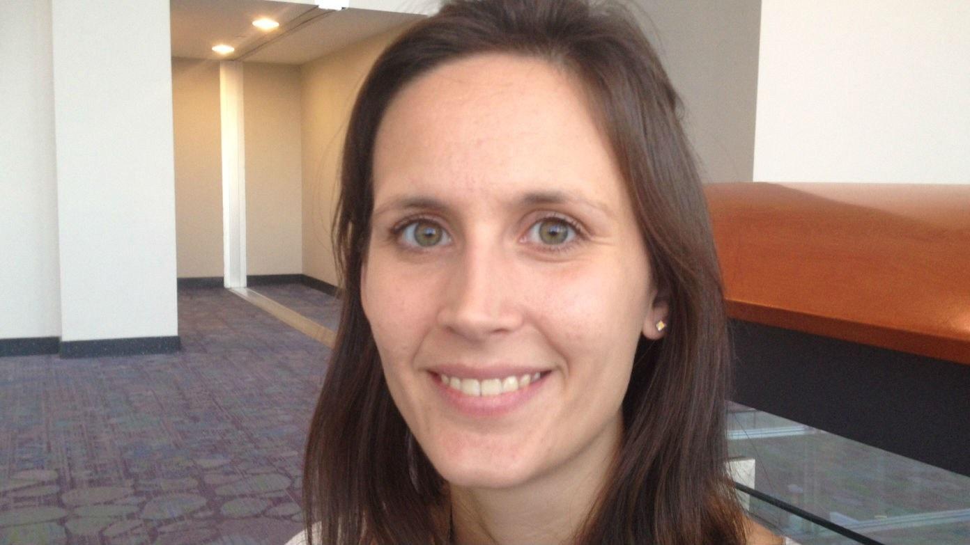 Emma studerar känselceller i huden: