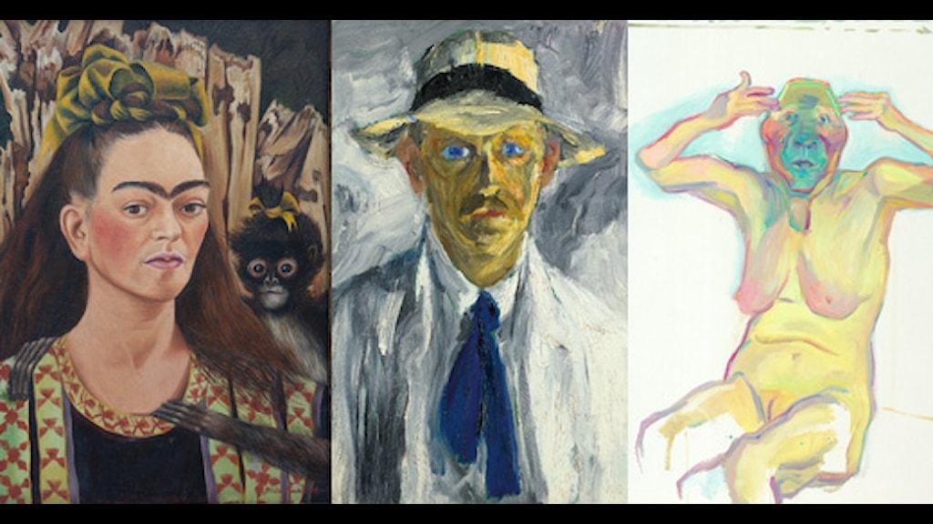 Självporträtt av Frida Kahlo, Emil Nolde och Maria Lassnig. © Antonio Berlanga, Nolde Stiftung och Hauser & Wirth.
