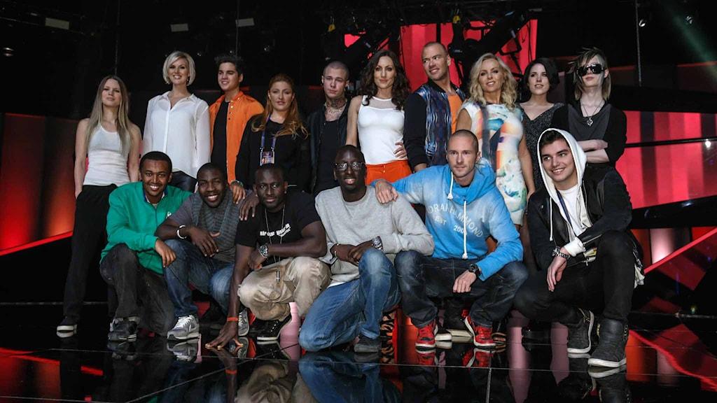 Alla finalisterna samlade i Friends Arena. Foto: FREDRIK PERSSON / TT