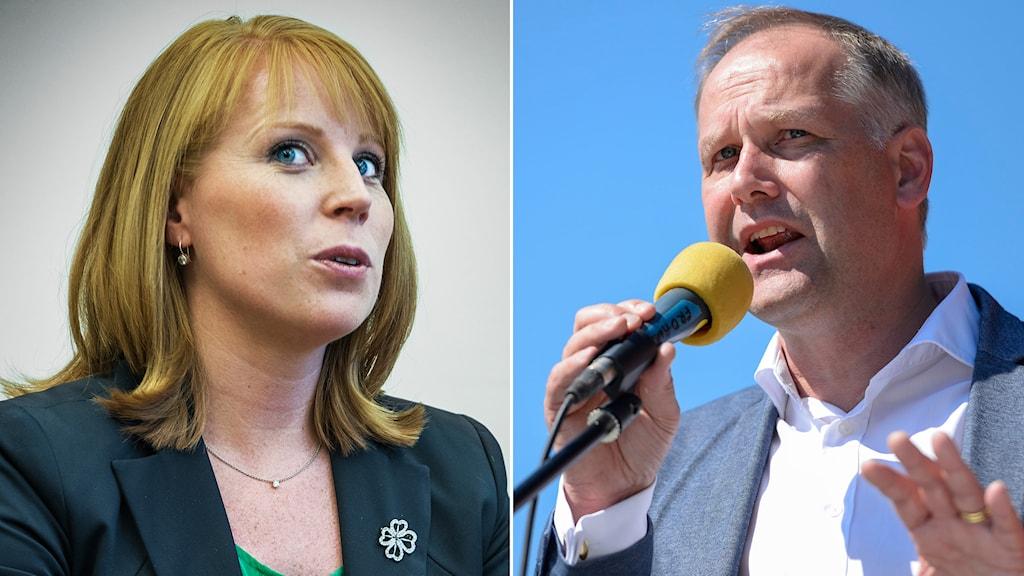 Annie Lööf (C) och Jonas Sjöstedt (V). Foto: Per Larsson & Tomas Oneborg/TT