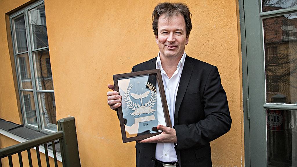 Ett pris som man får av en läsarjury är det bästa pris man kan få, säger Kjell Westö. Foto: Martina Holmberg/Sveriges Radio.