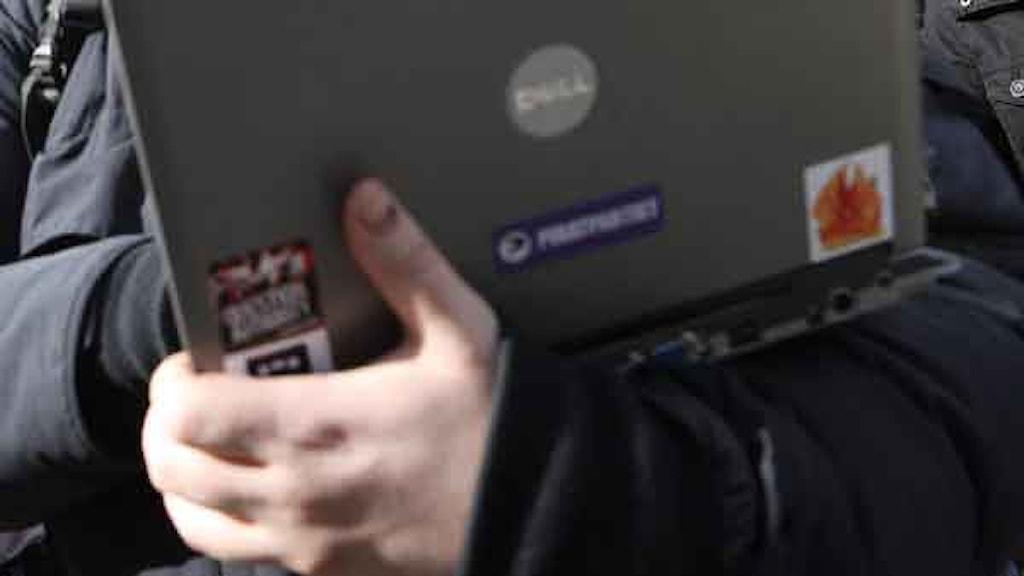 Laptop med Piratpartiets logotyp. Foto: Fredrik Persson/Scanpix.