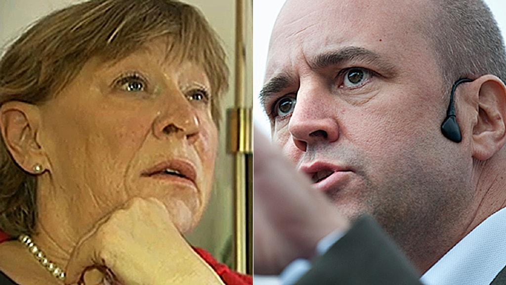 Annica Holmquist kan få tillbaka sjukersättning. Fredrik Reinfeldt vill inte kommentera enskilda fall. Foto: TV4 och Scanpix.