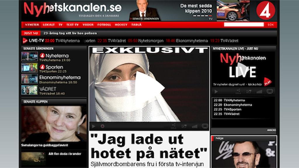 TV4-nyheternas intervju med änkan till den man som sprängde sig själv till döds på Bryggargatan i Stockholm före jul. Bilden är en beskuren skärmdump från TV4:s Nyhetskanalen.se