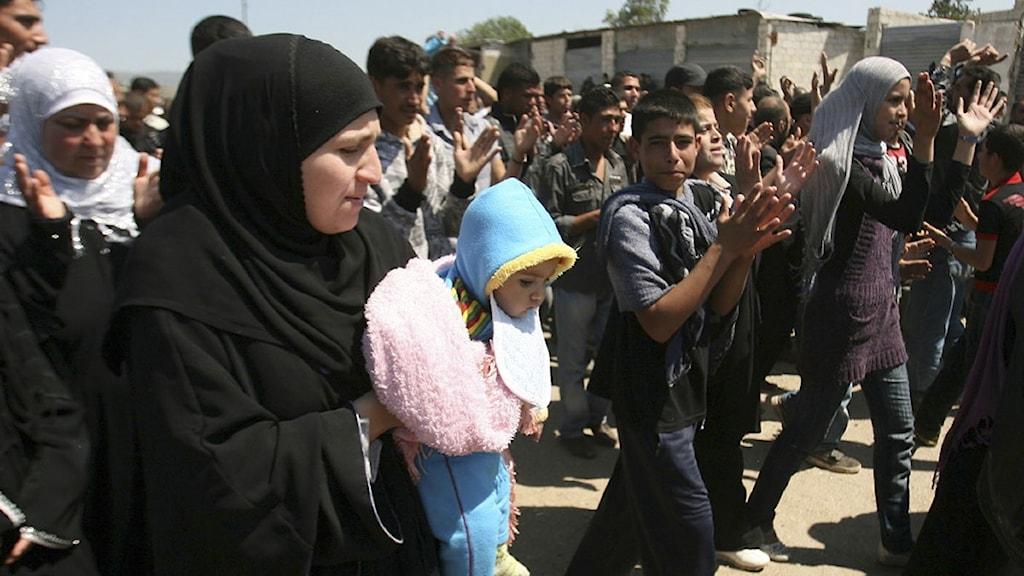 Syrier som flytt till Libanon. Foto: Scanpix.