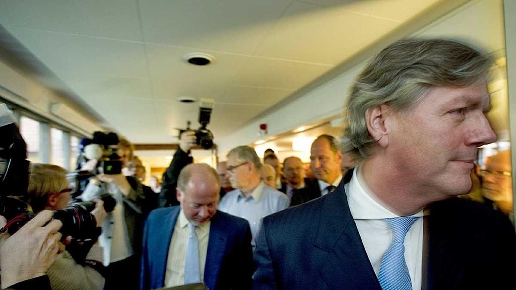 Saabs vd Victor Muller anländer till borgenärsmötet i Vänersborgs tingsrätt. Foto: Adam Ihse/Scanpix.