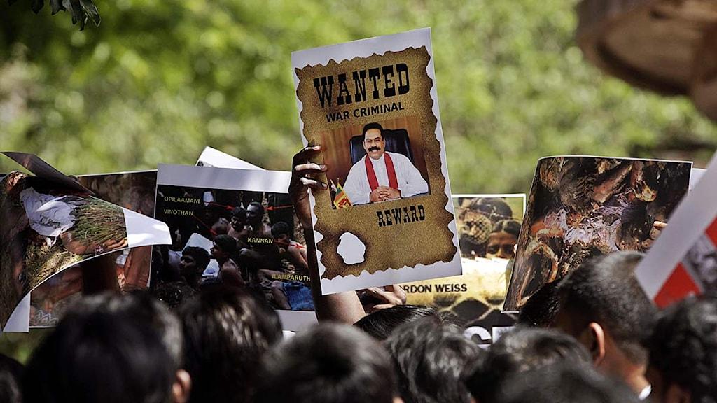 Tamiler i Indien demonstrerar mot krigsförbrytelser i Sri Lanka. Foto: Rajanish Kakade/Scanpix.