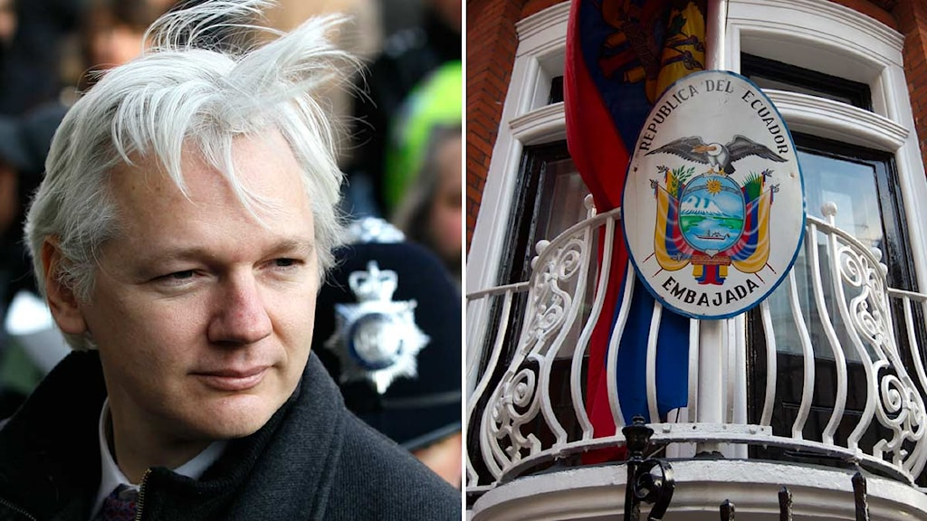 Bild på Julian Assange ihopklippt med bild på Ecuadors ambassad i London. Foto: Scanpix.