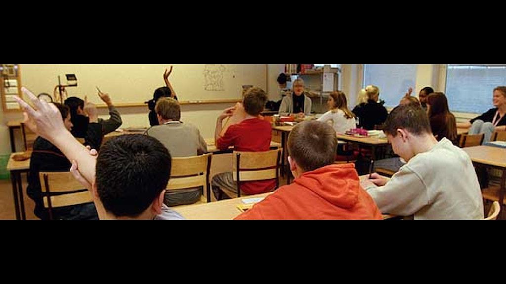 Elever i ett klassrum. Foto: Erik G Svensson/Scanpix.