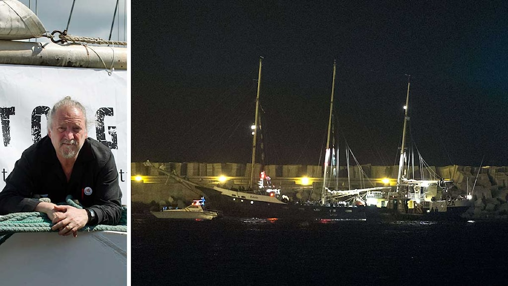 Imprisoned activist Dror Feiler and the Ship to Gaza vessel Estelle,  Photo: Scanpix, Montage: Sveriges Radio