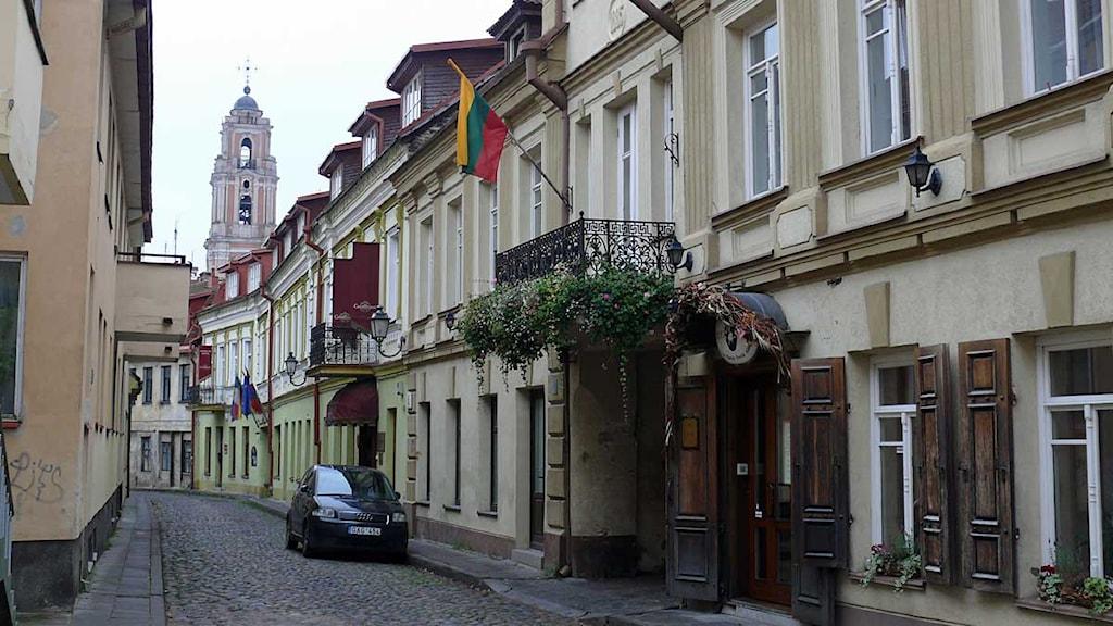 I Vilnius gamla stadskärna huserar flera vitryska exilorganisationer. Foto: Maria Persson Löfgren/Sveriges Radio.