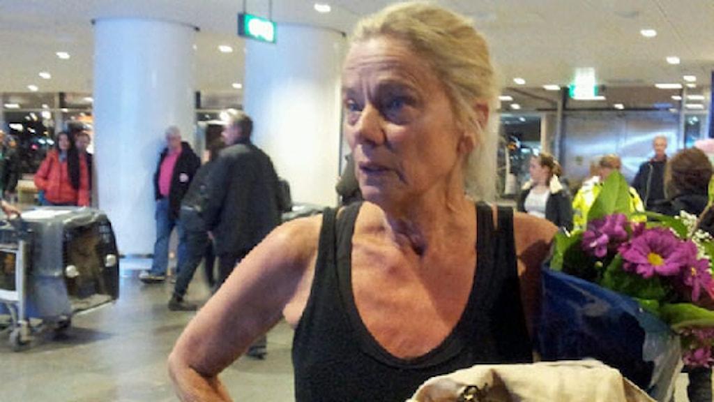 Maria-Pia Boëthius landade på måndagskvällen på Arlanda. Foto: Anna Larsson/Sveriges Radio
