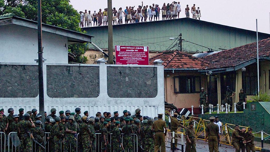 Fängelseuppror i Colombo, Sri Lanka.