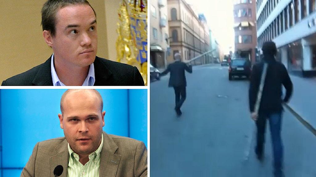 Filmen som Expressens publicerat, filmad av Kent Ekeroth, visar när SD-politikerna Erik Almqvist och Christian Westling beväpnar sig med järnrör. Foto: Expressen/Scanpix
