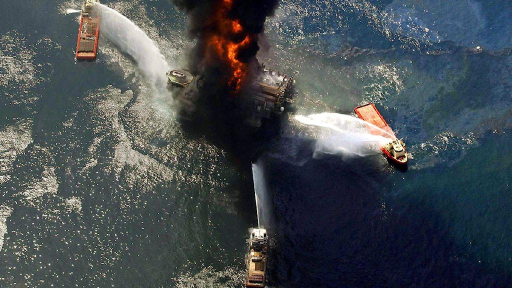 Oljeriggen Deepwater Horizon i Mexikanska golfen exploderade den 20 april 2010.