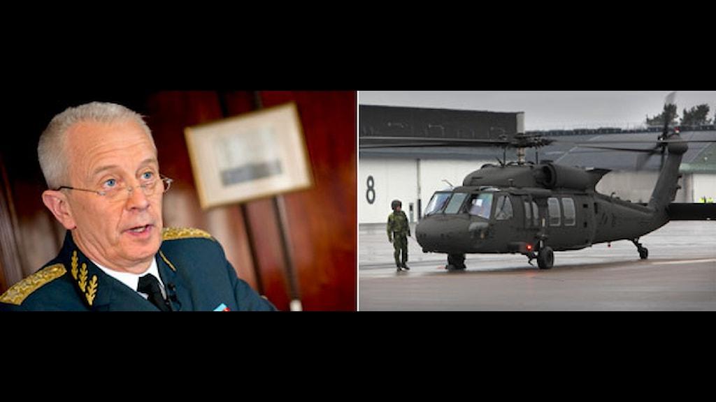 Sveriges överbefälhavare, ÖB, Sverker Göranson och en av försvarets helikoptrar. Foto: Scanpix. Montage: Sveriges Radio.