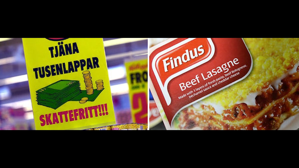 Skylt från en lågprisaffär och en bild på Findus-lasagne. Foto: Scanpix