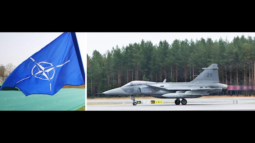 Natoflagga vajar i vinden. Ett Jas 39 Gripen på landningsbanan. Foto: Scanpix. Montage: Sveriges Radio.