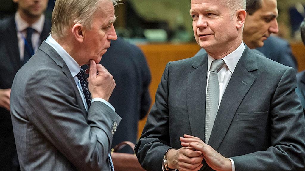 Danmarks utrikesminister Villy Sövndal och Storbritanniens dito William Hague. Foto: Geert Vanden Wijngaert/Scanpix.
