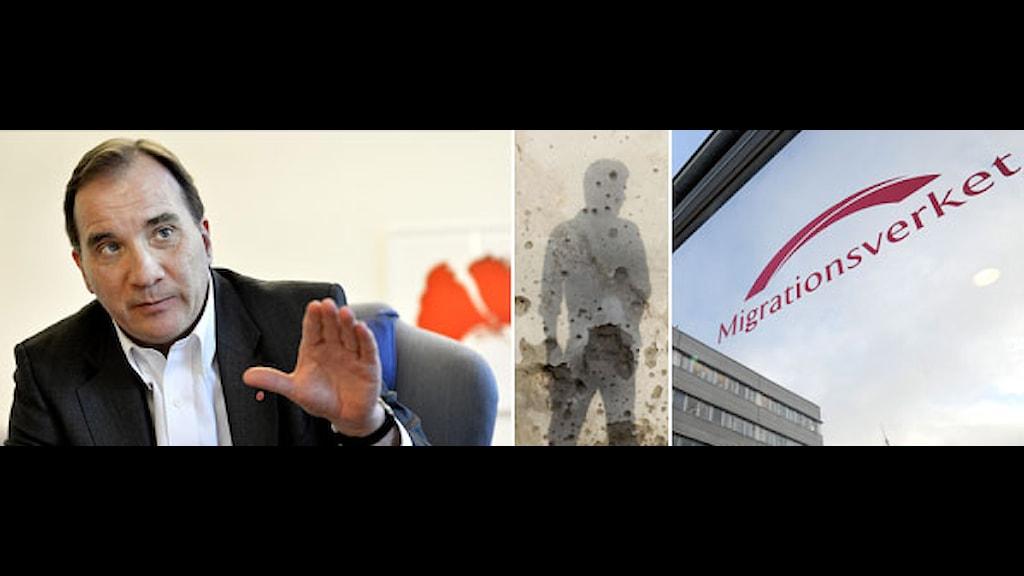 Stefan Löfven. Migrationsverkets skylt. En skuggbild av en ung man. Foto: Scanpix