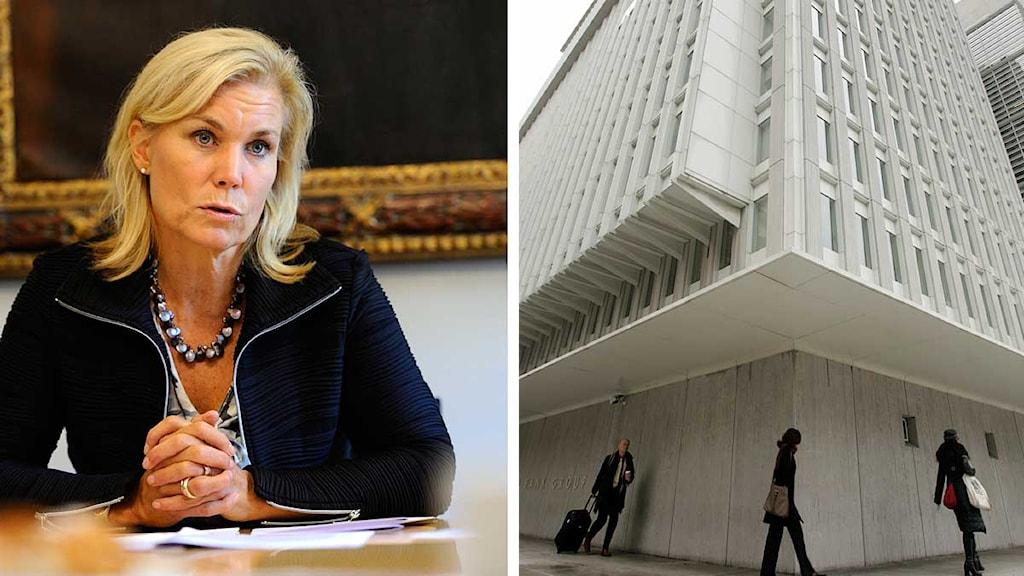 Biståndsminister Gunilla Carlsson (M) och Världbankens byggnad i Washington i USA. Foto: Scanpix. Montage: Sveriges Radio.