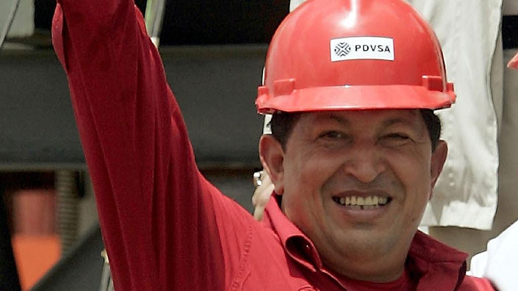 Arkivfoto på Hugo Chávez från en invigning av en oljeborrning i San Tome, Venezuela. Foto: Scanpix