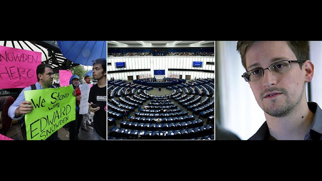 I dag håller politikerna i EU-parlamentet i snabbinkallad debatt om den amerikanska övervakningen. Foto: Scanpix. Montage: Sveriges Radio.