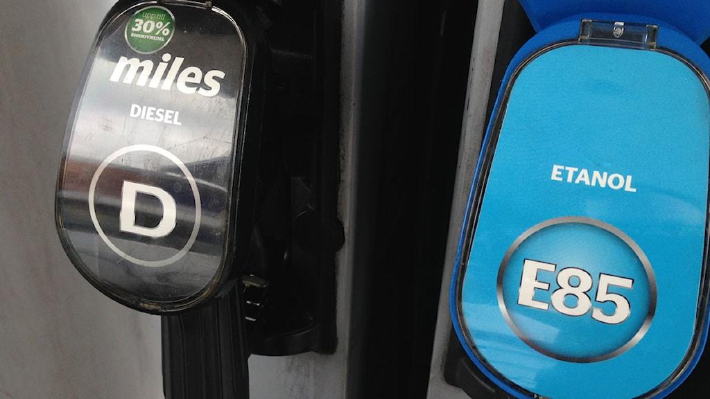 Pumpar med biobränsle och etanol. Foto: Tobias Wallin/Sveriges Radio