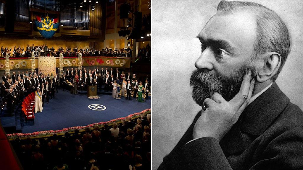 Utdelningen av Nobels pris i fysik kommer som vanligt att äga rum i Konserthuset i Stockholm. Porträtt av Alfred Nobel. Foto: AP/TT. Montage: Sveriges Radio.