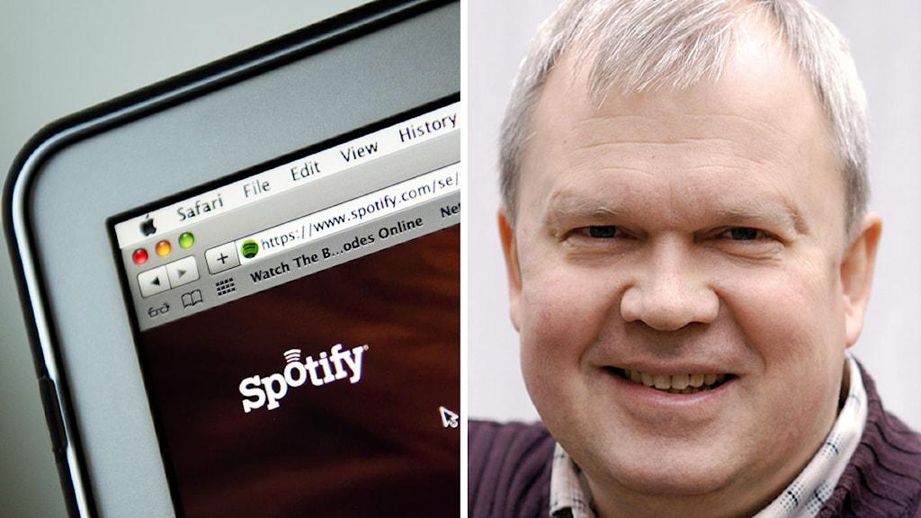 Musikstreamingtjänsten Spotify på en Mac-dator. Musikerförbundets jurist Per Herrey. Foto: Jonathan Nackstrand/TT och Musikerförbundet. Montage: Sveriges Radio.