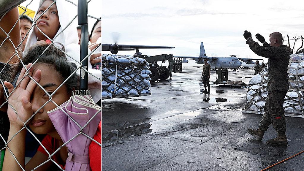 Hjälpsändningar anländer till Taclobans flygplats samtidigt som behövande väntar utanför flygplatsen. Foto: TT.