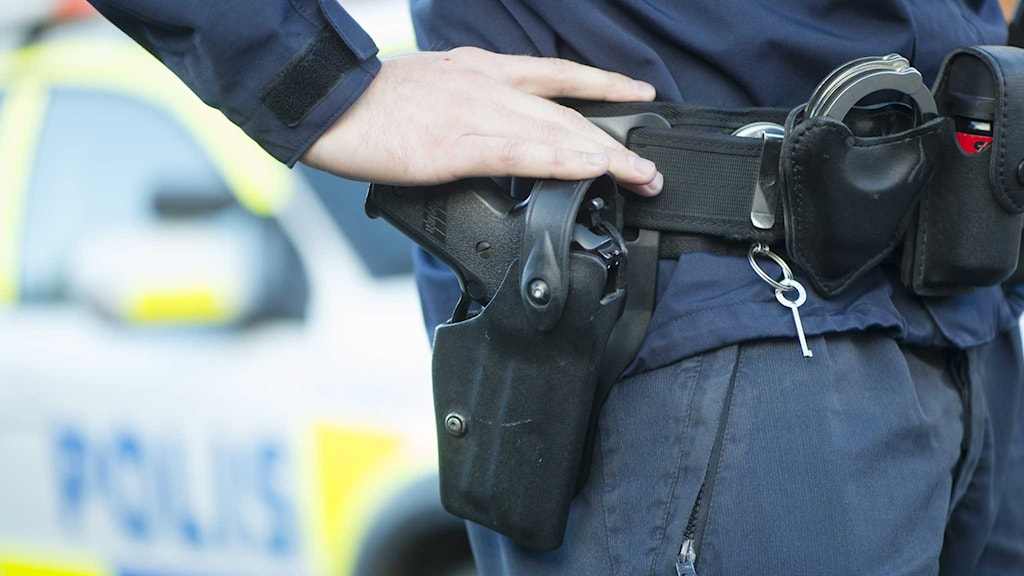Polis med vapen i hölster. Foto: Fredrik Sandberg/TT