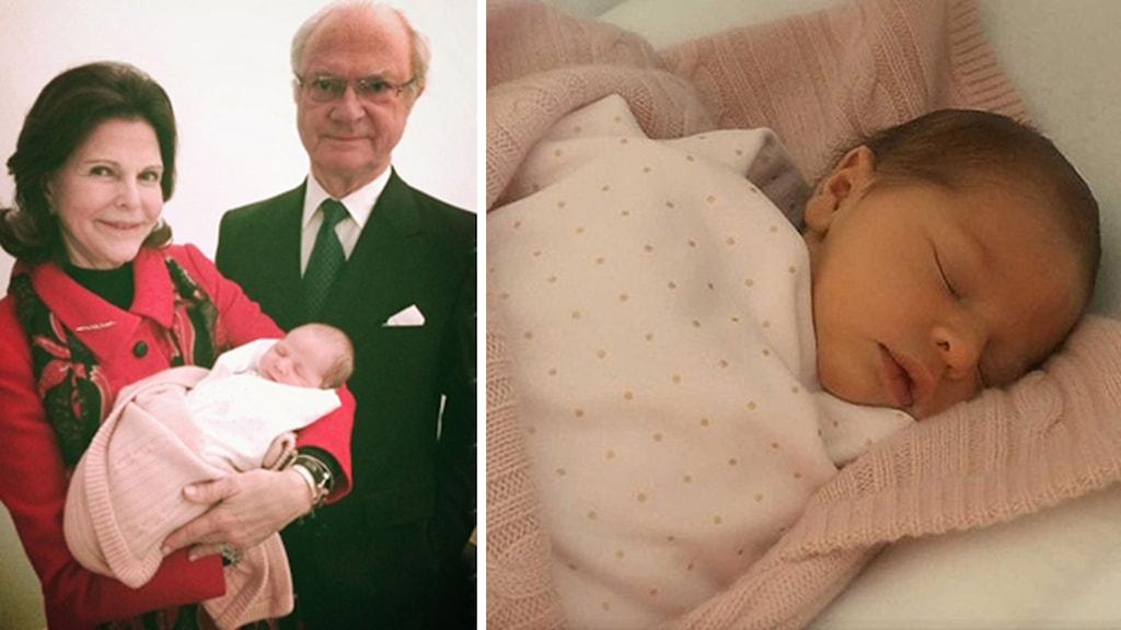 Prinsessan Leonore tillsammans med Kung Carl Gustaf och Drottning Silvia. Foto: Prinsessan Madeleine och herr Christopher O´Neill/Kungahuset.se