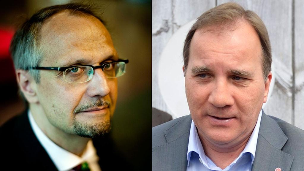 Ulf Bjereld, S-märkt statsvetare och Stefan Löfven, Socialdemokraternas partiledare. Foto: Adam Ihse och Henrik Montgomery/TT