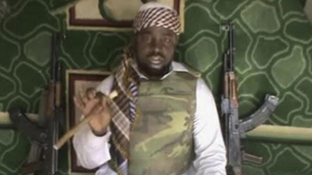 En grynig bild av Boko Harams ledare Abubakar Shekau. Foto: TT.