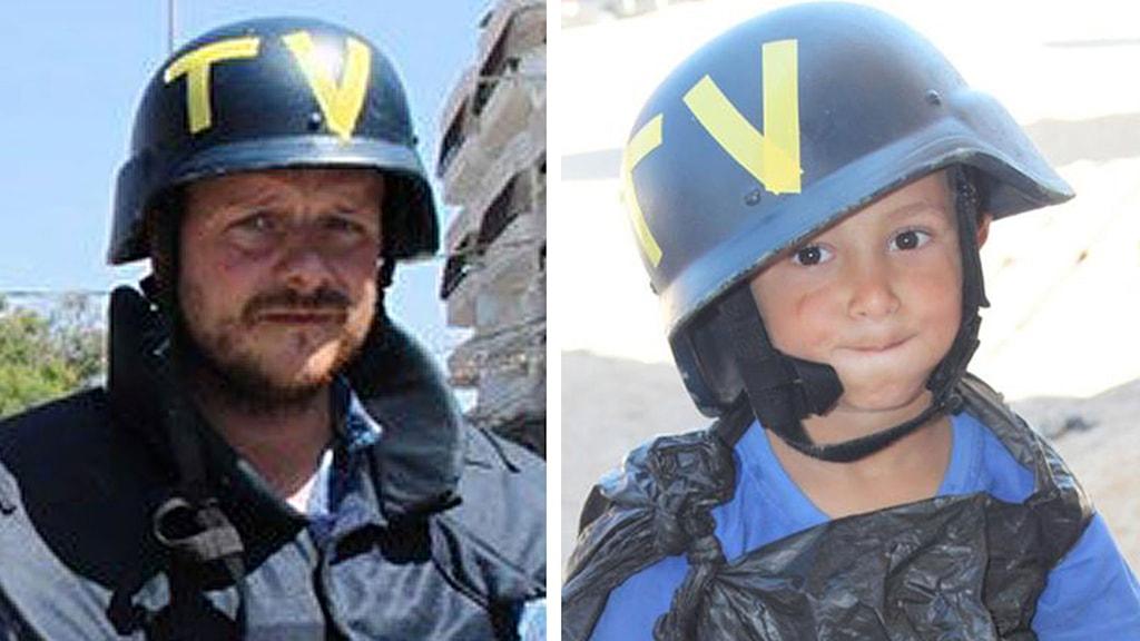 Johan-Mathias Sommarström and boy dressed up like journalist in Gaza. Photo: Sveriges Radio.