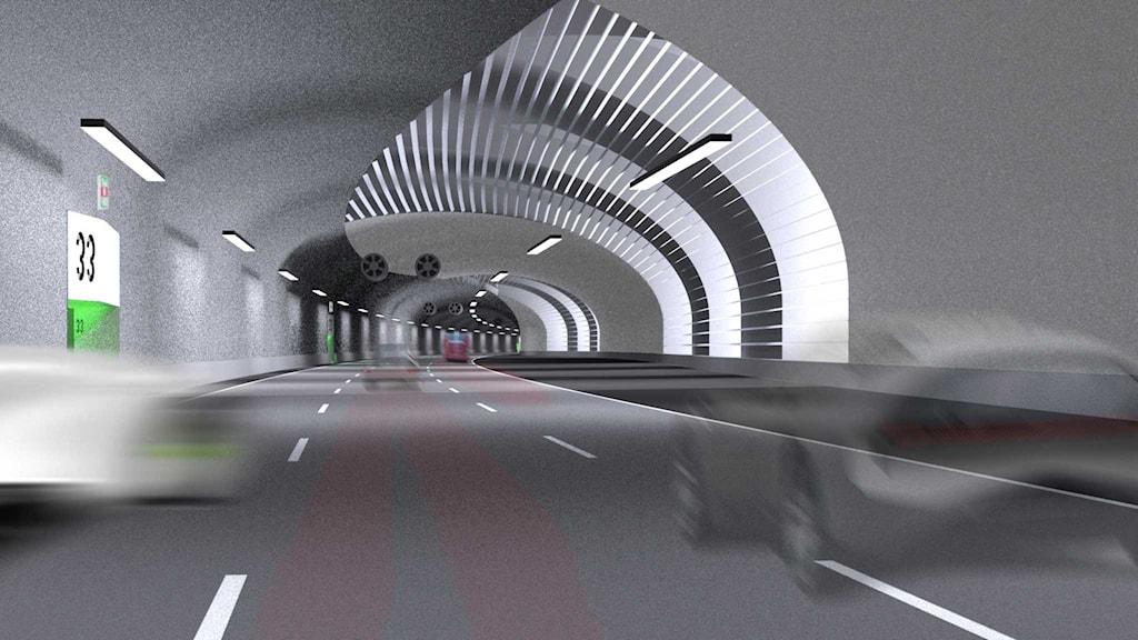 En ilustration av hur tunnel i Förbifart Stockholm kan komma att se ut. Bild: Trafikverket.