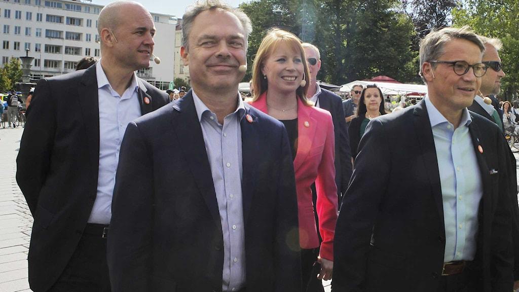 De fyra alliansledarna besökte i dag Malmö.