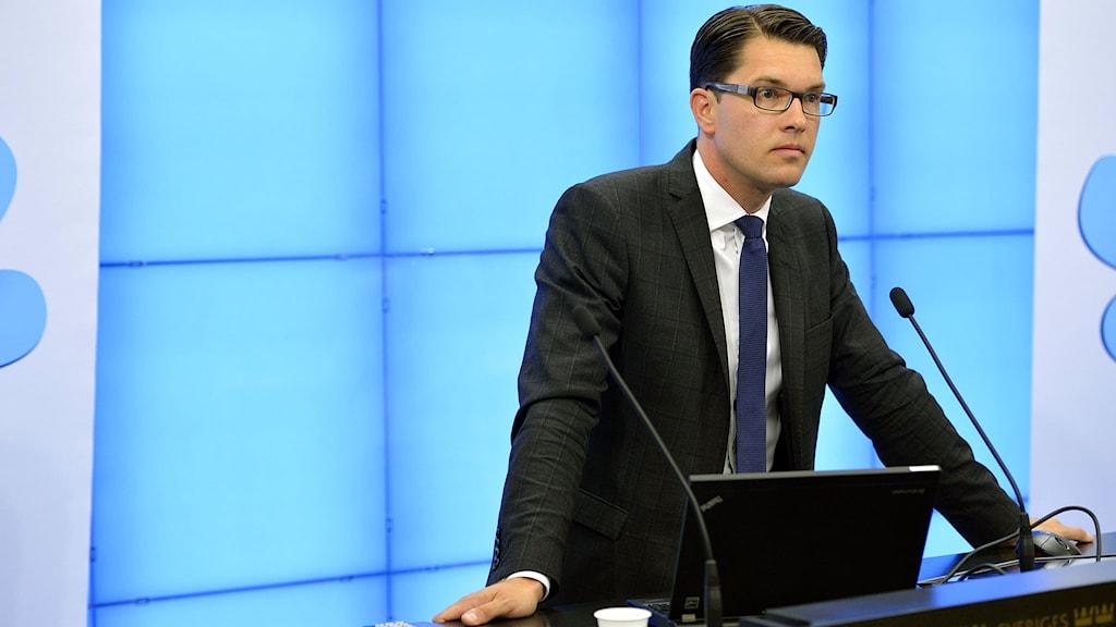 Ruotsidemokraattien puheenjohtaja Jimmie Åkesson. Foto: Henrik Montgomery /TT.