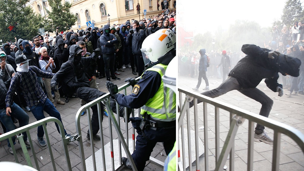 There were clashes between a small group of anti-fascist protestors and police. Photo: TT