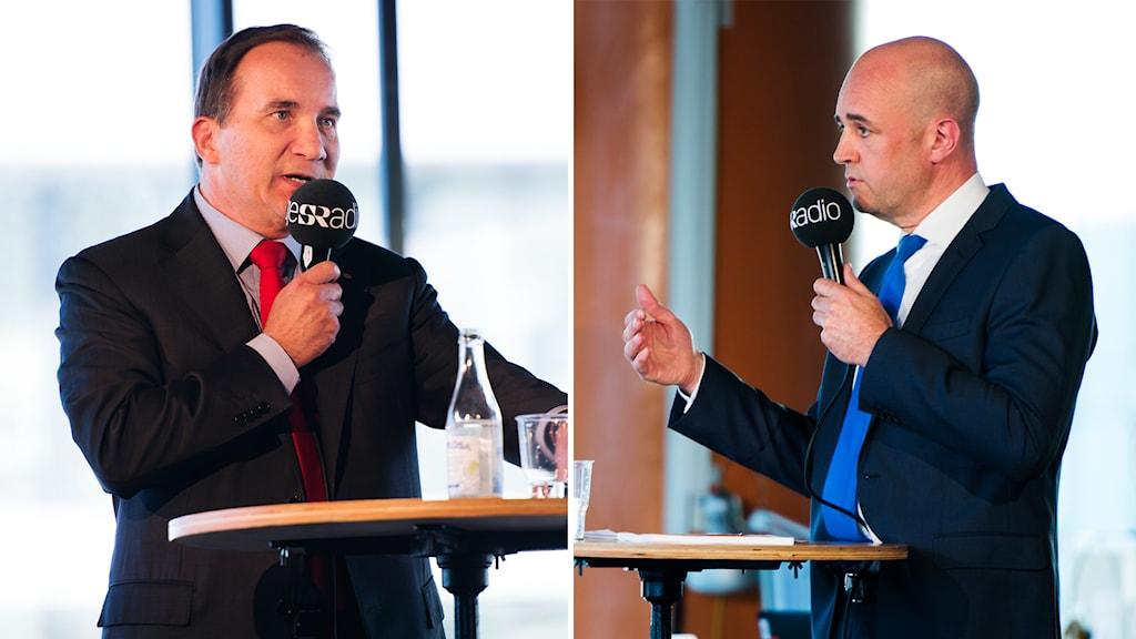 Stefan Löfven och Fredrik Reinfeldt på Sveriges Radios scen. Foto: Alexander Donka/Sveriges Radio.