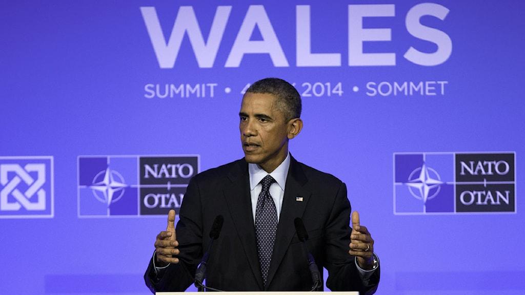 USA:s president Barack Obama på Natomöte i Wales. Foto: Jon Super/TT.