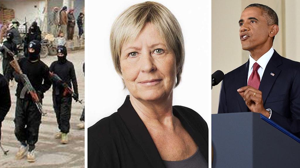 Bildsplit: Isis, Agneta Ramberg och Barack Obama. Foto: Sveriges Radio samt Saul Loeb/AP.