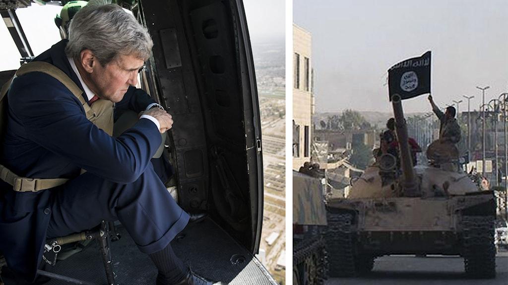 Bildsplit: John Kerry och Isis. Foto: Brendan Smialowski/TT samt Raqqa Media Center/TT.