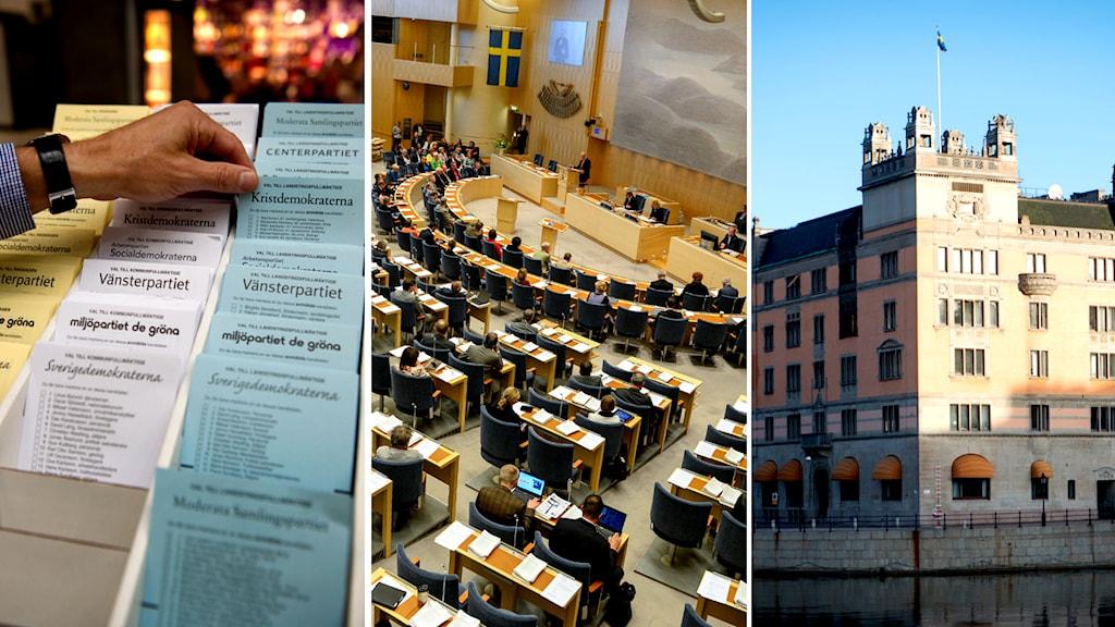 Valet blir avgörande för hur många från respektive parti som tar plats i Riksdagen (mitten) och vilka som får ta plats i regeringskansliet.