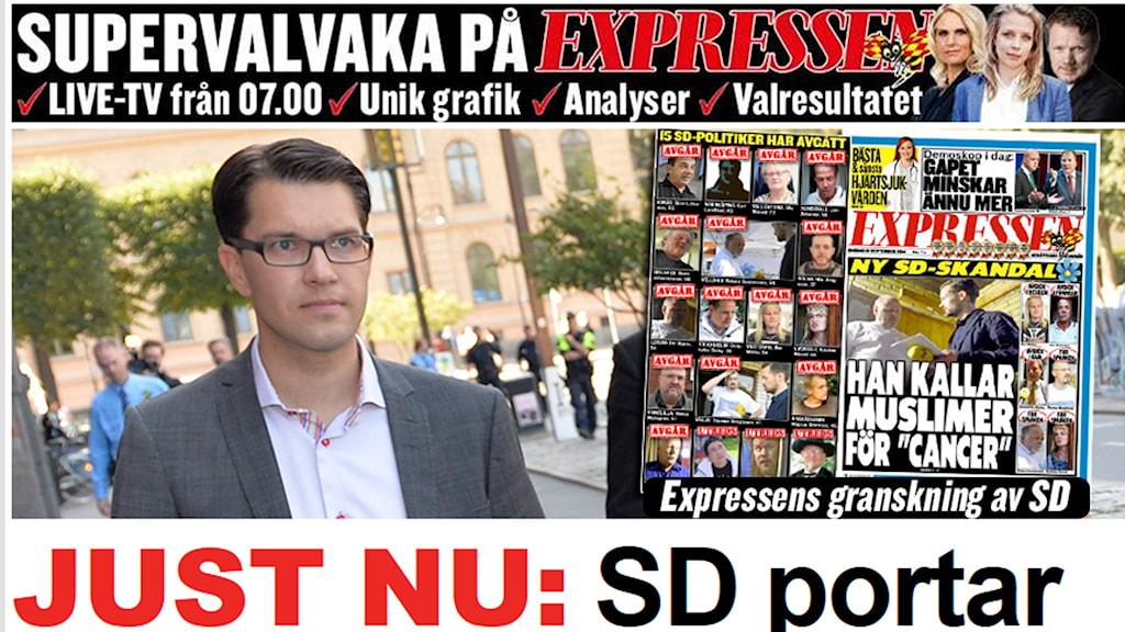 Expressen portas från SD:s valvaka efter senaste veckana bevakning. Foto: Skärmdump.