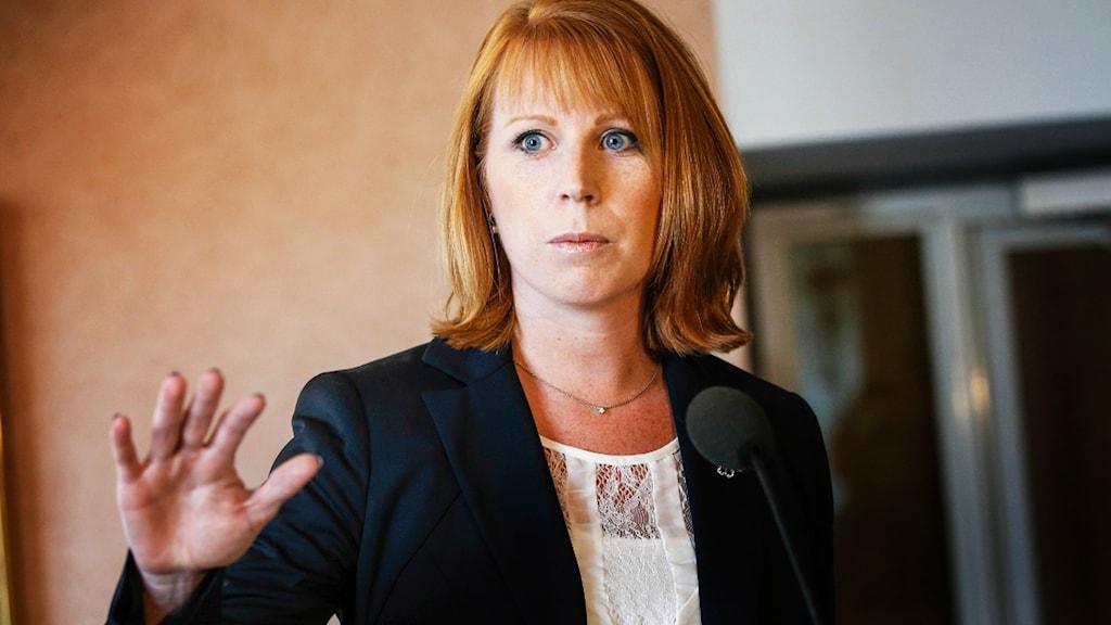 Annie Lööf var inte nådig i sin kritik mot Stefan Löfven efter att ha träffat talman Per Westerberg (M) i dag. Foto: TT